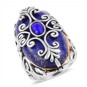 Lapis Lazuli, Blue Austrian Crystal Black Oxidised
